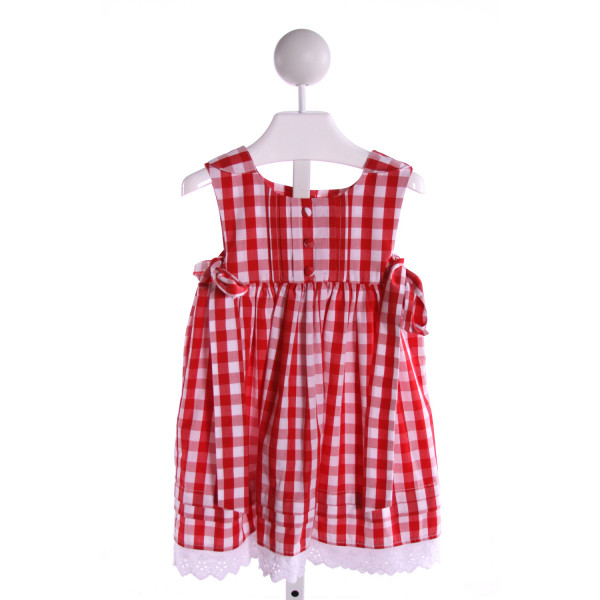 SAGE & LILLY  RED  GINGHAM  DRESS WITH EYELET TRIM