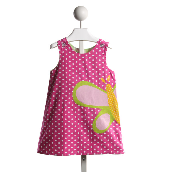 RAGSLAND REVERSIBLE PINK DOT BUTTERFLY/GREEN SEERSUCKER ICE CREAM APPLIQUE DRESS