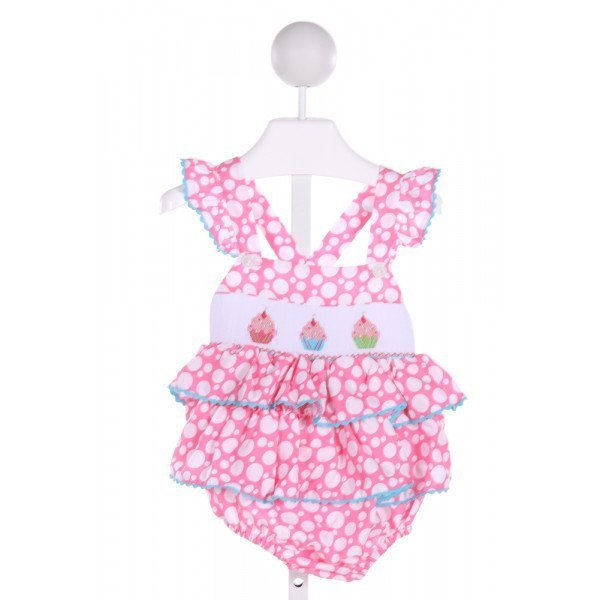 KANDYLAND KIDS  PINK  POLKA DOT SMOCKED BUBBLE WITH RIC RAC