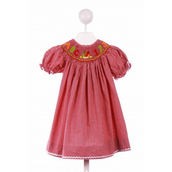 BAREFOOT   RED  GINGHAM SMOCKED CASUAL DRESS WITH RIC RAC
