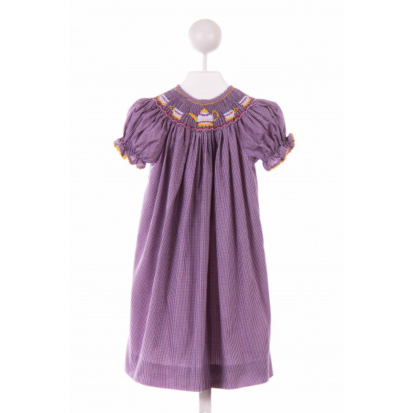 BE MINE  PURPLE  GINGHAM SMOCKED CASUAL DRESS WITH RIC RAC