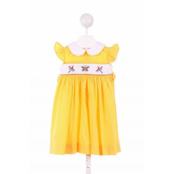 BE MINE  YELLOW  POLKA DOT SMOCKED CASUAL DRESS WITH RIC RAC