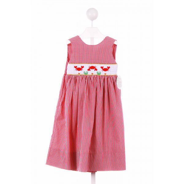 ROSALINA  RED  GINGHAM SMOCKED CASUAL DRESS