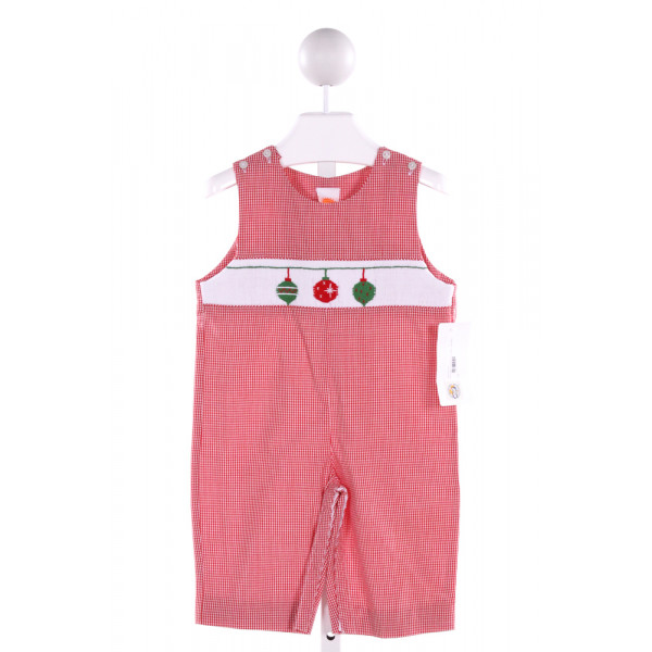 SOUTHERN SUNSHINE KIDS  RED  CHECK SMOCKED LONGALL/ROMPER
