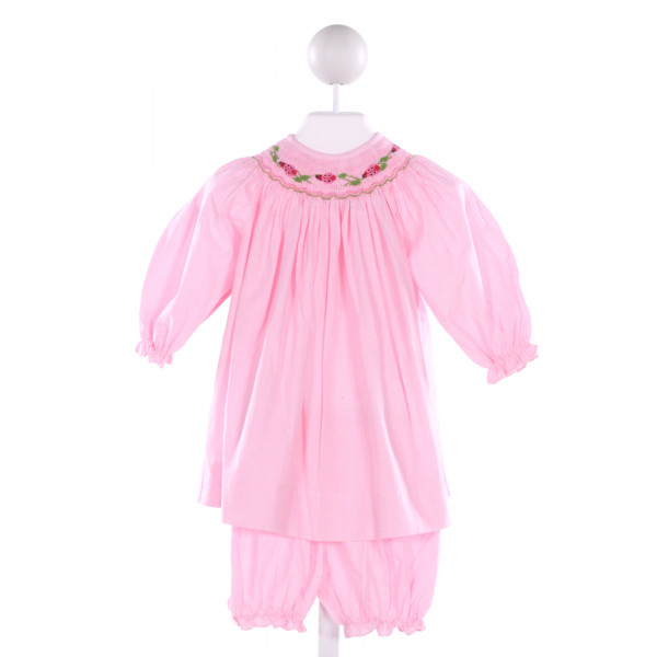 BAILEY BOYS  LT PINK  MICROCHECK SMOCKED 2-PIECE OUTFIT WITH RUFFLE