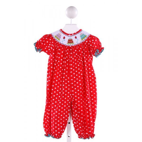STELLYBELLY  RED  POLKA DOT SMOCKED ROMPER WITH RIC RAC