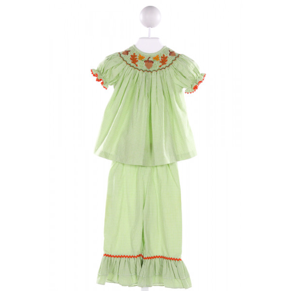 BE MINE  GREEN  GINGHAM SMOCKED 2-PIECE OUTFIT WITH RIC RAC