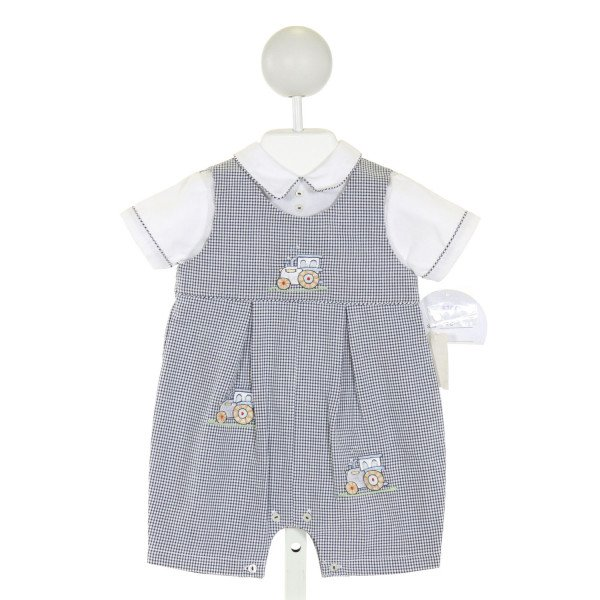 SARAH LOUISE  NAVY SEERSUCKER GINGHAM EMBROIDERED JOHN JOHN/ SHORTALL