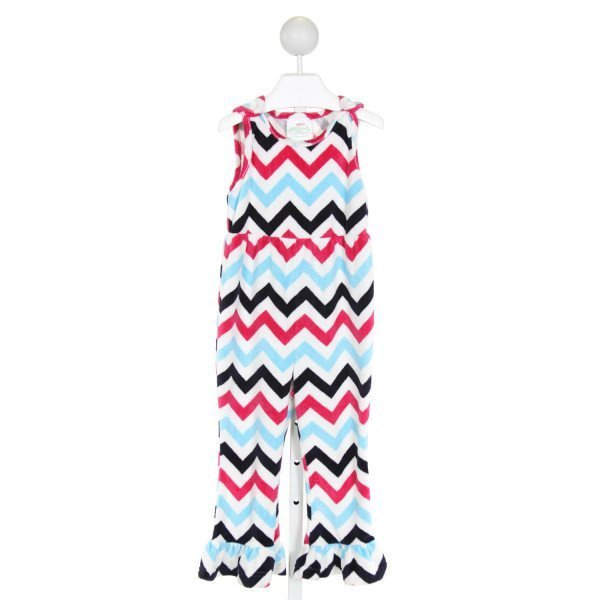 LOLLY WOLLY DOODLE  WHITE  CHEVRON  ROMPER WITH RUFFLE