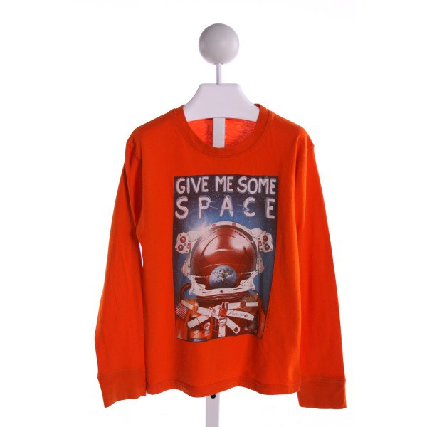 WES AND WILLY  ORANGE   PRINTED DESIGN KNIT LS SHIRT