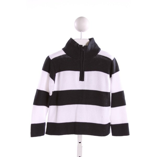 BELLA BLISS  NAVY  STRIPED  QUARTER ZIP PULLOVER