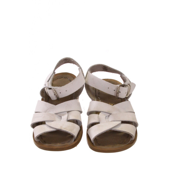 WHITE AND BROWN SUN SANS/ SALTWATER SANDALS *SIZE 6, VGU - DISCOLORATION