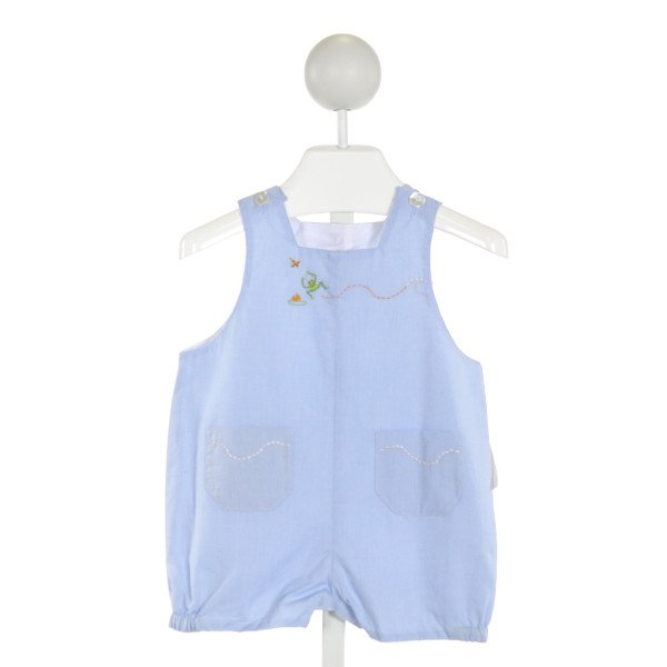 ANAVINI  LT BLUE   EMBROIDERED JOHN JOHN/ SHORTALL
