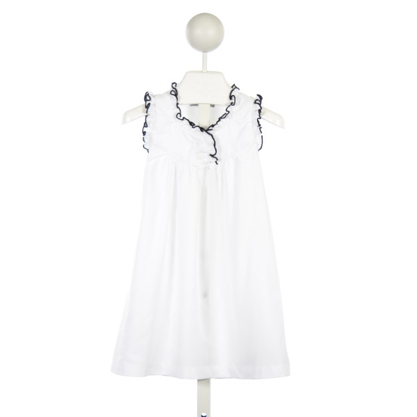 SWEET DREAMS WHITE KNIT GOWN WITH NAVY TRIM