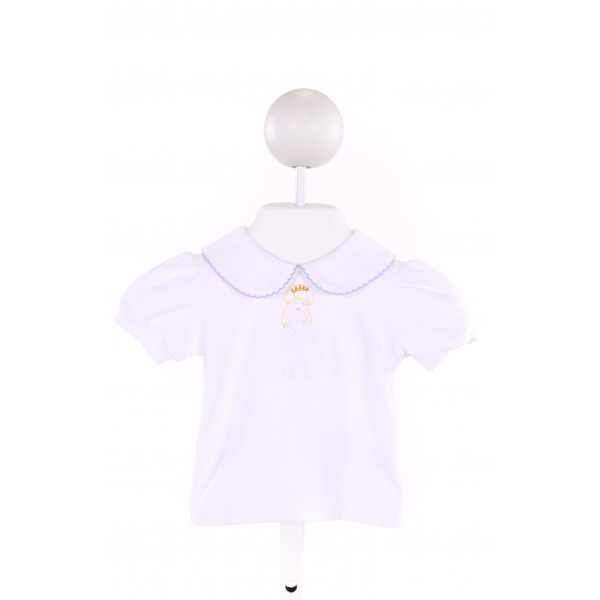 LUIGI  WHITE   EMBROIDERED KNIT SS SHIRT WITH PICOT STITCHING