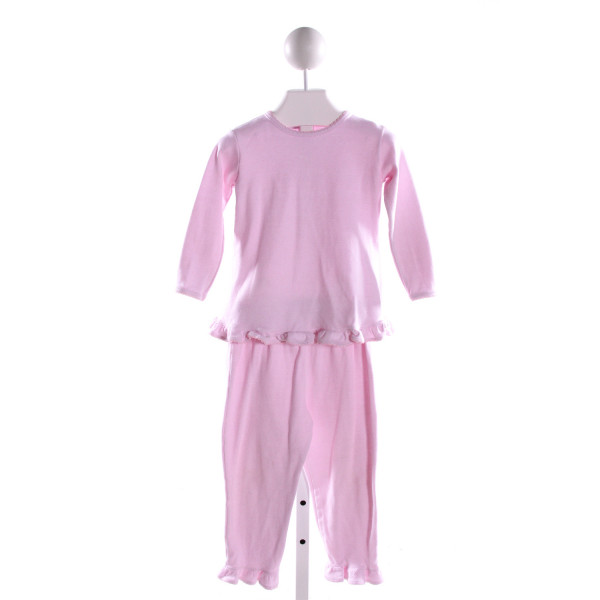 SQUIGGLES  LT PINK  STRIPED  2-PIECE OUTFIT WITH PICOT STITCHING