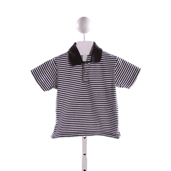 LUIGI  NAVY  STRIPED  KNIT SS SHIRT