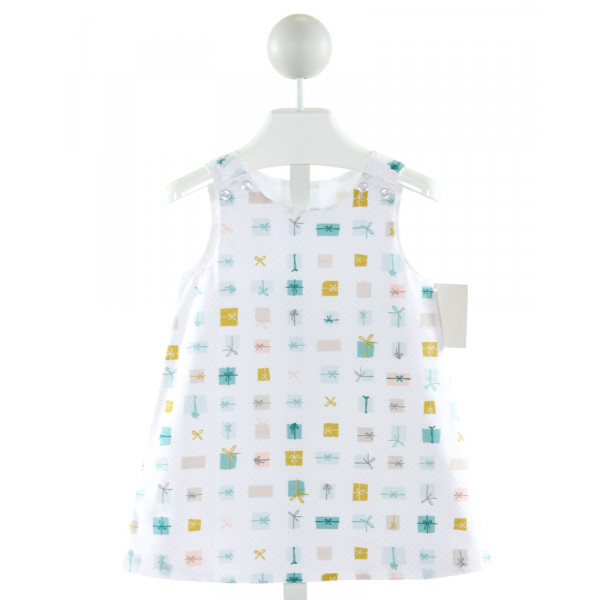 JAMES & LOTTIE  WHITE  POLKA DOT PRINTED DESIGN DRESS