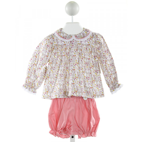 JAMES & LOTTIE  LT PINK  FLORAL  2-PIECE OUTFIT WITH EYELET TRIM
