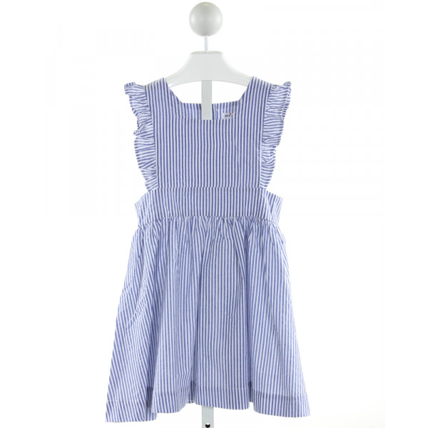 PETIT PEONY  BLUE SEERSUCKER STRIPED  DRESS WITH RUFFLE