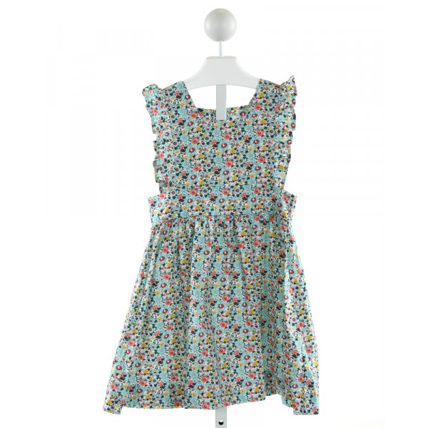 PETIT PEONY  LT BLUE  FLORAL  DRESS WITH RUFFLE