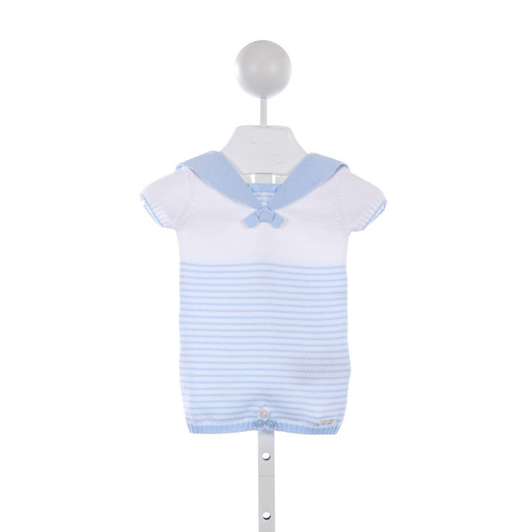 MAYORAL BLUE AND WHITE STRIPE KNIT SAILOR ROMPER