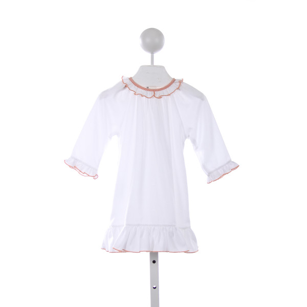 SWEET DREAMS WHITE COTTON NIGHTGOWN WITH ORANGE PIPING