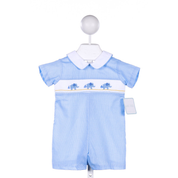 PETIT BEBE BLUE MICRO CHECK SHORTALL WITH ELEPHANT SMOCKING