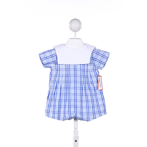 JACK & TEDDY BLUE TRI-CHECK BUBBLE WITH WHITE BIRDSEYE PIQUE COLLAR