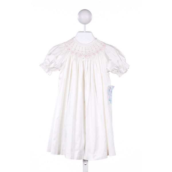 LULI & ME IVORY SATIN DRESS WITH PINK FLOWER SMOCKING