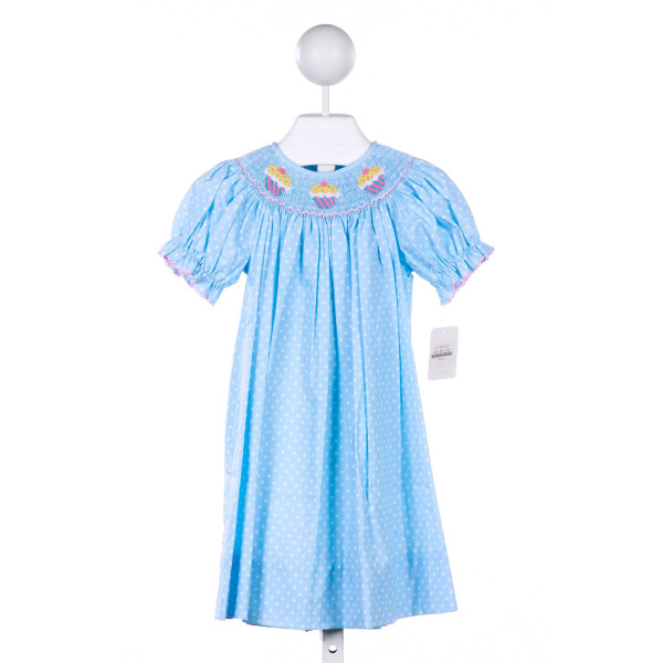 PETIT BEBE BLUE POLKA-DOT DRESS WITH CUPCAKE SMOCKING