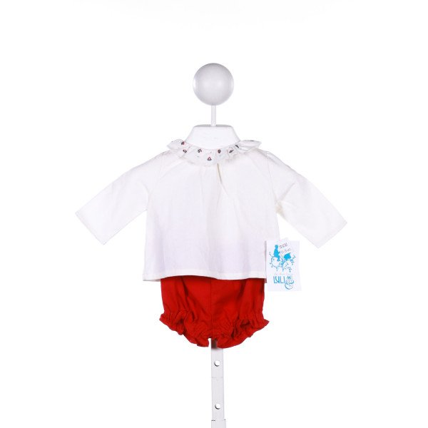 LULI & ME IVORY TOP WITH EMBROIDERED HOLLY AND MATCHING RED BLOOMERS