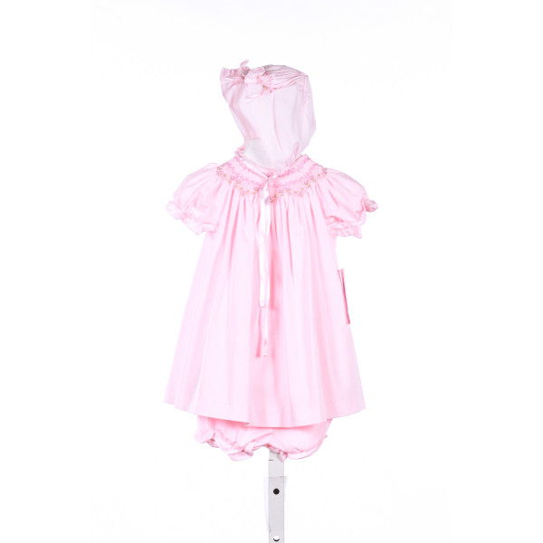 LULI & ME PINK SMOCKED DRESS WITH MATCHING BLOOMERS AND BONNET