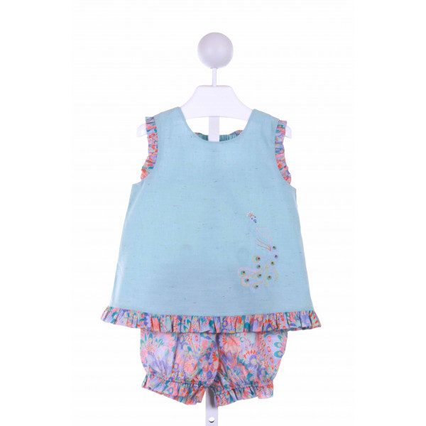 DONDOLO  BLUE   EMBROIDERED 2-PIECE OUTFIT WITH RUFFLE