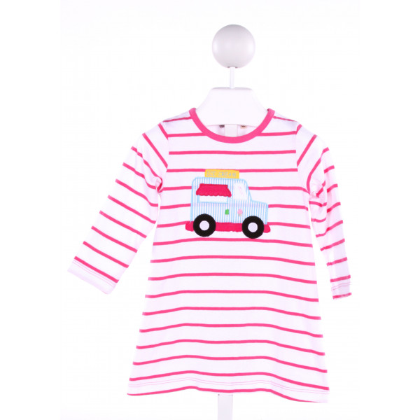 LUIGI  PINK  STRIPED EMBROIDERED KNIT DRESS