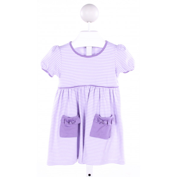 SQUIGGLES  PURPLE  STRIPED  KNIT DRESS WITH RUFFLE