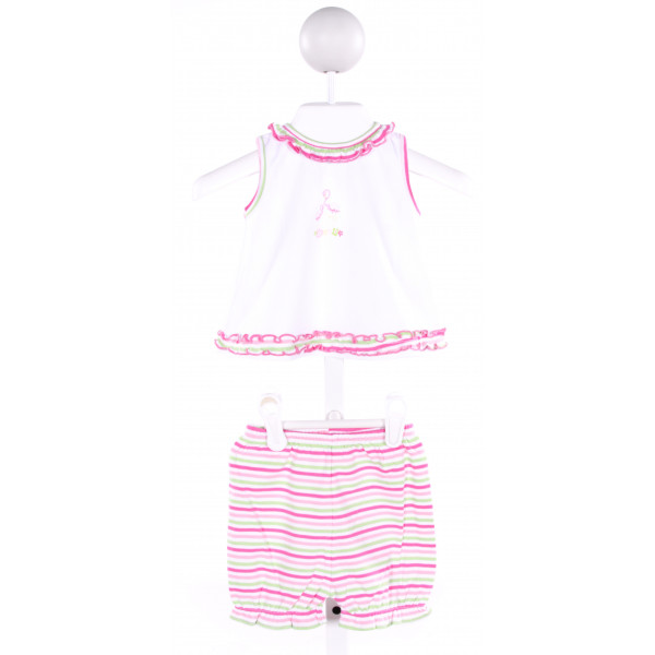 KISSY KISSY  MULTI-COLOR  STRIPED PRINTED DESIGN 2-PIECE OUTFIT WITH RUFFLE