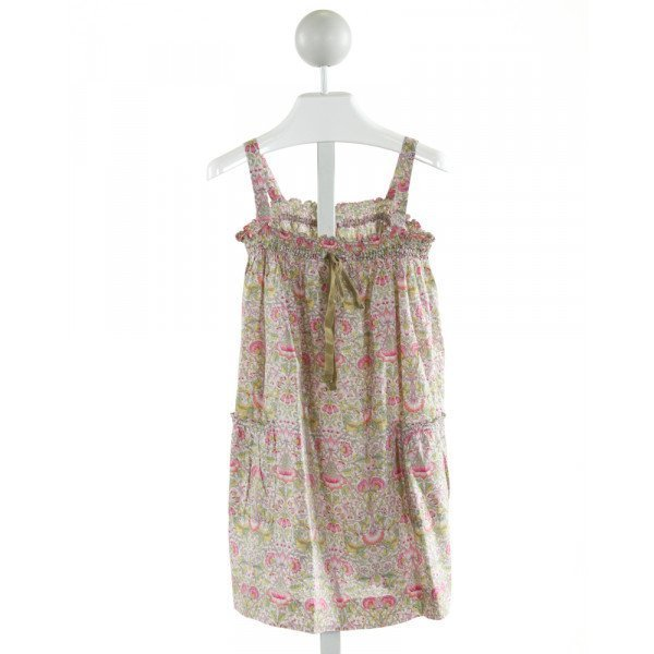 BONPOINT  LT GREEN  FLORAL SMOCKED DRESS WITH RUFFLE