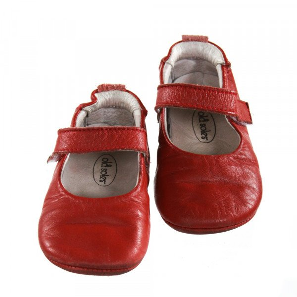 OLD SOLES RED FLATS *SIZE TODDLER 5, VGU - VERY MINOR WEAR AND SCUFFING