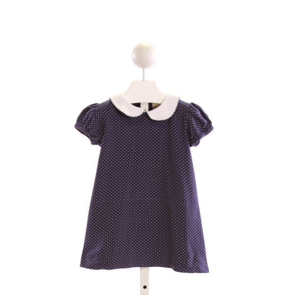 LUIGI  NAVY  POLKA DOT  DRESS WITH PICOT STITCHING