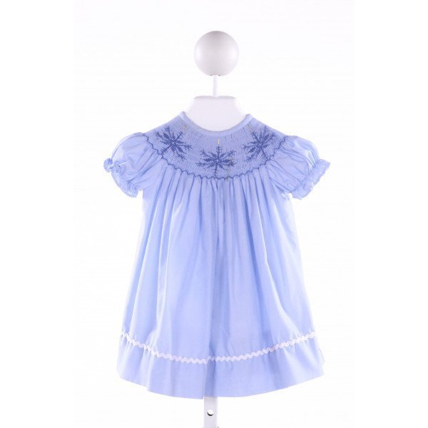 LINEY LU  BLUE   SMOCKED DRESS WITH RUFFLE