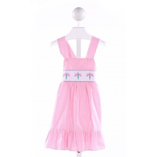 LINEY LU  PINK  GINGHAM SMOCKED DRESS