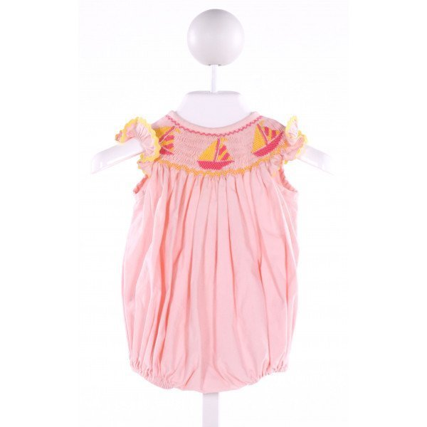 LINEY LU  LT PINK COTTON  SMOCKED BUBBLE WITH RIC RAC