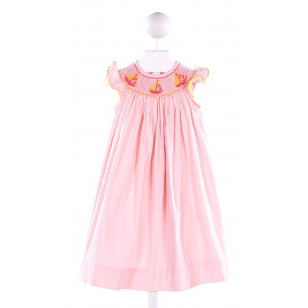 LINEY LU  LT PINK COTTON  SMOCKED DRESS WITH RIC RAC