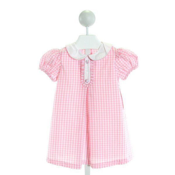 SOUTHERN SUNSHINE KIDS  PINK  GINGHAM  DRESS WITH RUFFLE