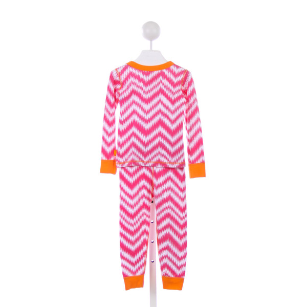 MASALA KIDS HOT PINK AND WHITE KNIT LOUNGEWEAR SET WITH ORANGE TRIM