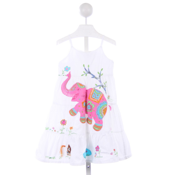 COTTON KIDS WHITE DRESS WITH PINK ELEPHANT APPLIQUE