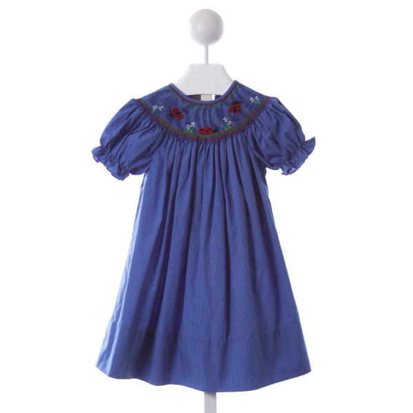 ROSALINA BLUE GINGHAM DRESS WITH LADYBUG SMOCKING