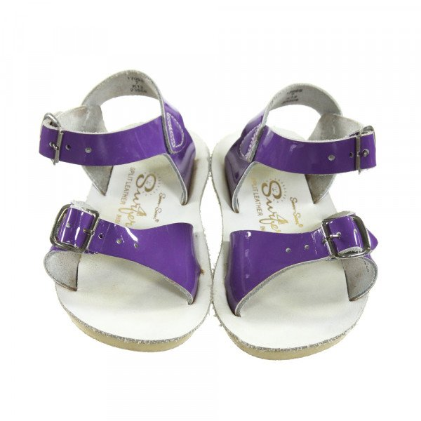 PURPLE SUN SANS/ SALTWATER SANDALS *SIZE TODDLER 7, VGU - LIGHT WEAR AND DISCOLORATION (J)