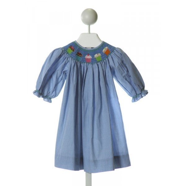 ROYAL CHILD  BLUE  GINGHAM SMOCKED DRESS WITH RUFFLE
